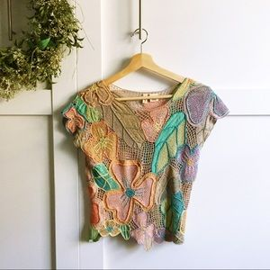 MOTH- for Anthro crocheted floral multicolor top
